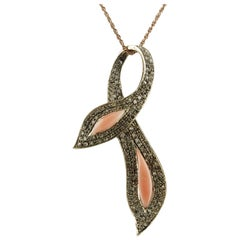 Diamonds, Pink Coral,Rose Gold and Silver Bow Shape Pendant Necklace