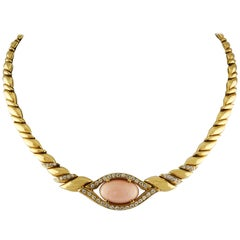 White Diamonds, Pink Oval Shape Coral, 18K Yellow Gold Chain Necklace