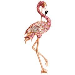 Diamonds Pink Orange Sapphires Enamel 18 Karat Rose Gold Flamingo Brooch