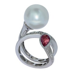 Diamonds Pink Sapphire South Sea Pearl 18 Karat White Gold Ring