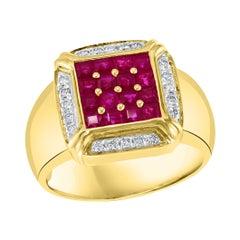 Diamonds & Princess Cut Invisible Set Rubies Men's Ring 14 Karat Yellow Gold