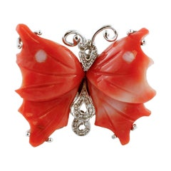 Diamonds, Red Coral, White Gold Butterfly Design Fashion Ring