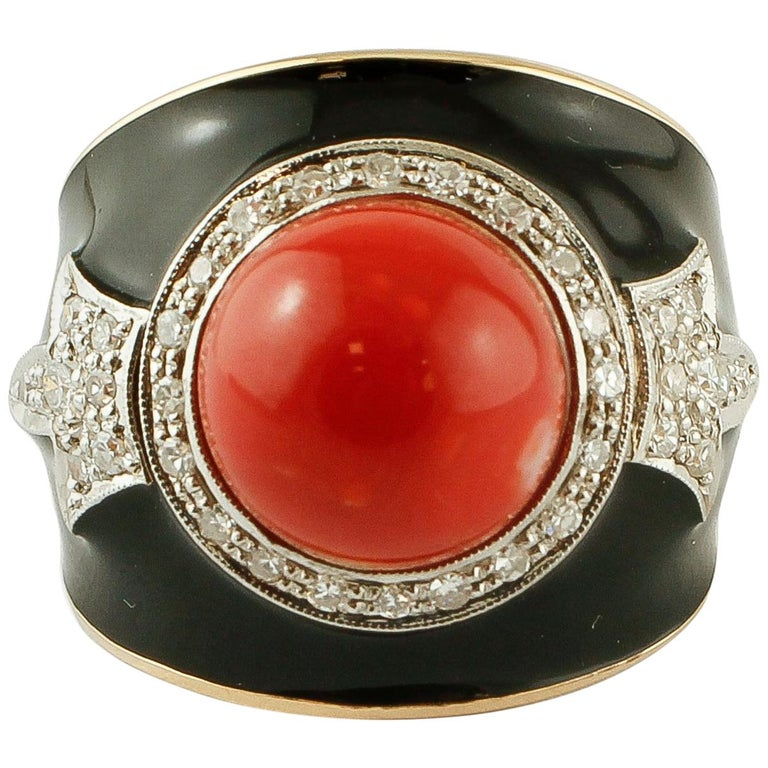 Diamonds, Red Rubrum Coral, Enamel, 14 Karat Yellow and White Gold, Vintage Ring For Sale