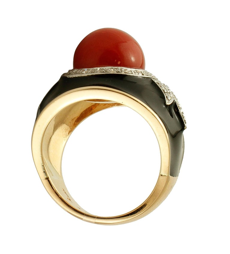 Retro Diamonds, Red Rubrum Coral, Enamel, 14 Karat Yellow and White Gold, Vintage Ring For Sale
