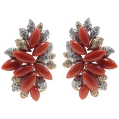 Diamonds, Red Stones Drops, White and Rose Gold Clip-On Retrò Earrings
