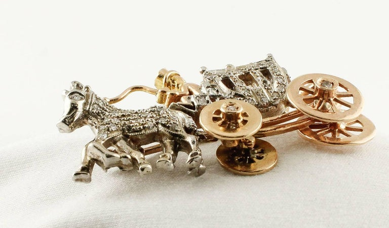 Retro  Diamonds Rose Gold and White Gold Carriage Brooch For Sale