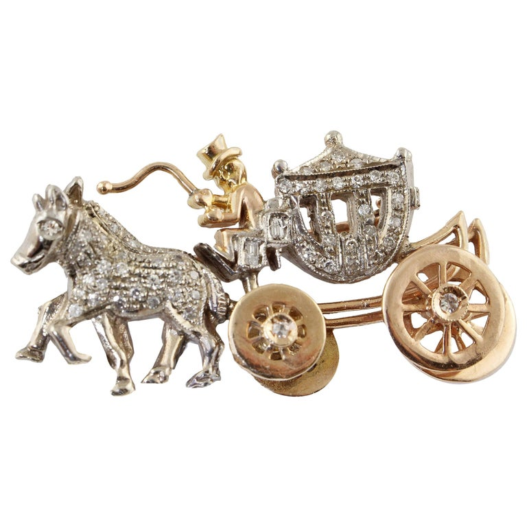 Diamonds Rose Gold and White Gold Carriage Brooch For Sale