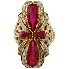 Diamonds, Rubies, 14 Karat White and Rose Gold Vintage Ring