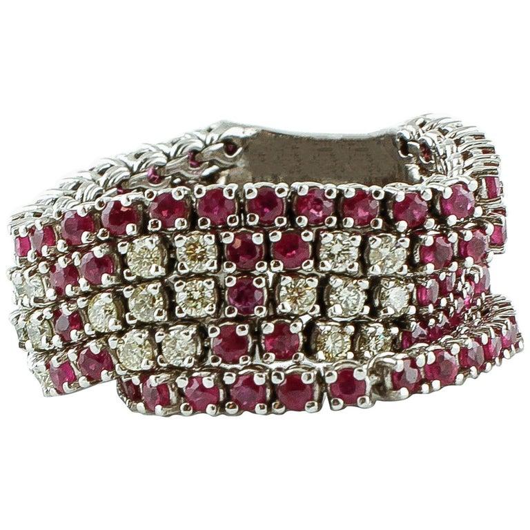 Diamonds, Rubies, 14 Karat White Gold Band Ring For Sale