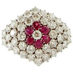 Diamonds, Rubies, 14 Karat White Gold Ring