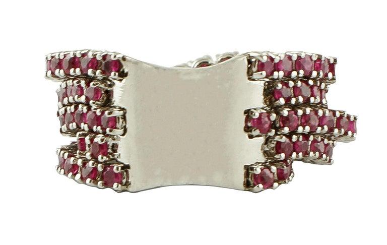 Modern Diamonds, Rubies, 14 Karat White Gold Band Ring For Sale