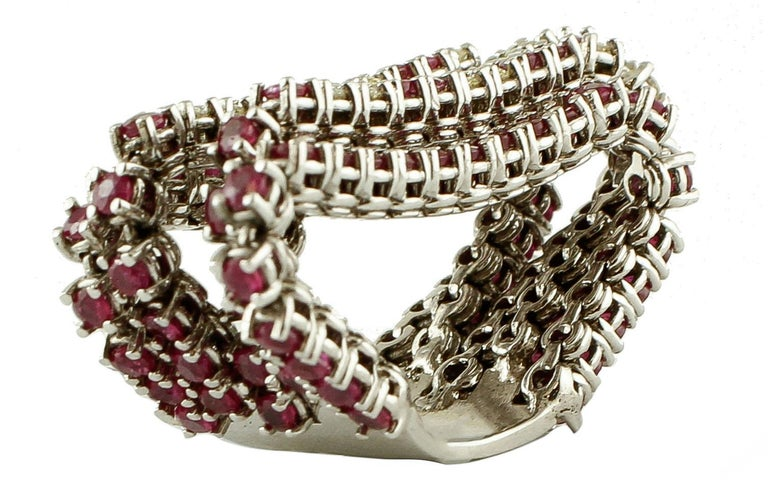 Diamonds, Rubies, 14 Karat White Gold Band Ring In Excellent Condition For Sale In Marcianise, Caserta