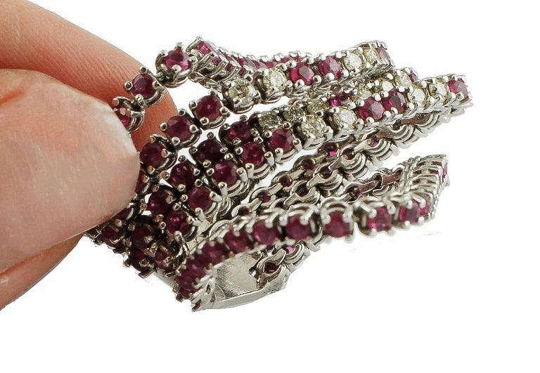 Women's Diamonds, Rubies, 14 Karat White Gold Band Ring For Sale