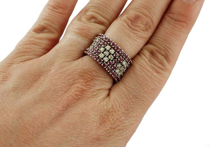 Diamonds, Rubies, 14 Karat White Gold Band Ring For Sale 1