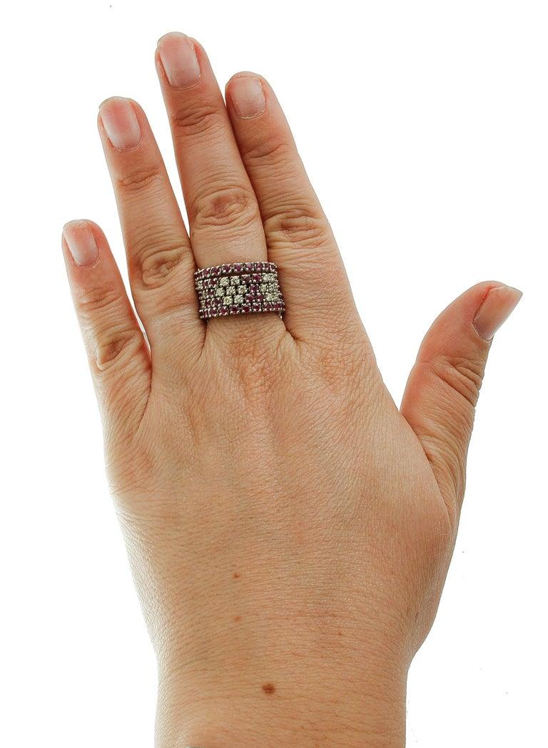 Diamonds, Rubies, 14 Karat White Gold Band Ring For Sale 2