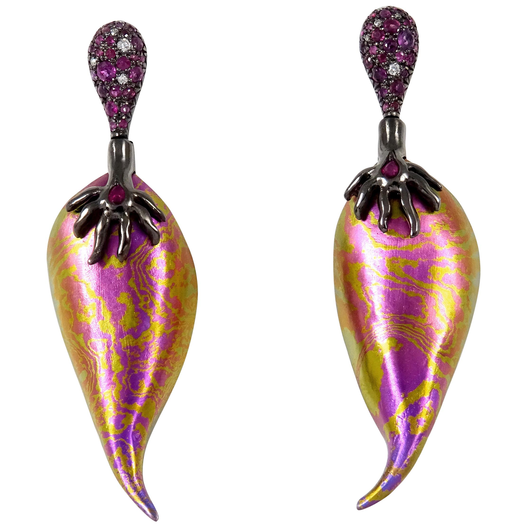 Diamonds Rubies 18 Karat Gold Sterling Silver Timascus Earrings One of a Kind