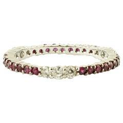 Diamonds, Rubies, 18 Karat White Gold Band Ring