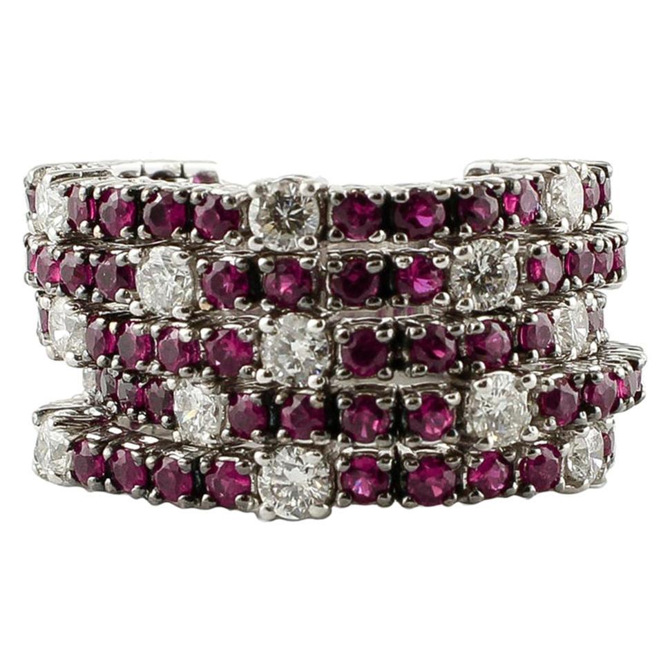 Diamonds, Rubies, 18 Karat White Gold, Band Ring