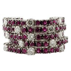 Diamonds, Rubies, 18 Karat White Gold, Band Ring
