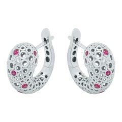 Diamonds Rubies 18 Karat White Gold Bubble Earrings
