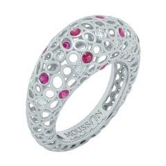 Diamonds Rubies 18 Karat White Gold Bubble Ring