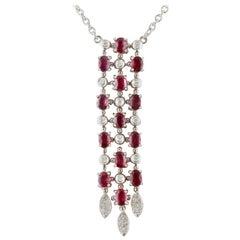 Diamonds, Rubies, 18 Karat White Gold Pendant Necklace