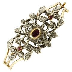 Diamonds, Rubies, 18 Karat Yellow Gold and Silver Vintage Bracelet