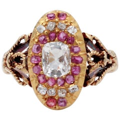 Diamonds, Rubies, 18 Karat Yellow Gold Ring