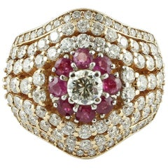 Diamonds, Rubies, 18 Karat Rose Gold Cluster Ring
