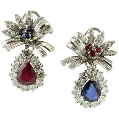 Diamonds, Rubies, Blue Sapphires 18 Karat White Gold Earrings