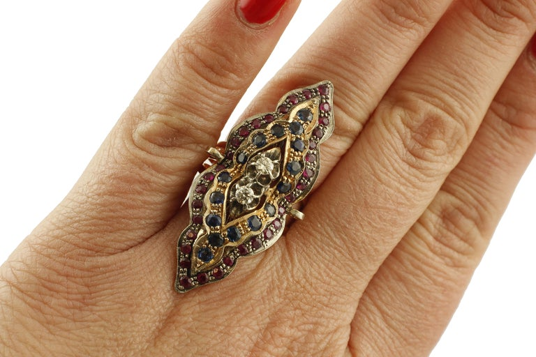 Women's Diamonds, Rubies, Blue Sapphires, 9 Karat Rose Gold and Silver Retro Ring For Sale