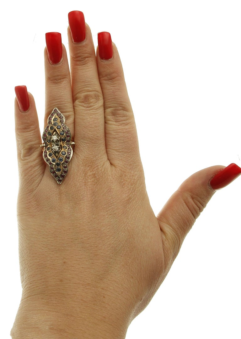 Diamonds, Rubies, Blue Sapphires, 9 Karat Rose Gold and Silver Retro Ring For Sale 1