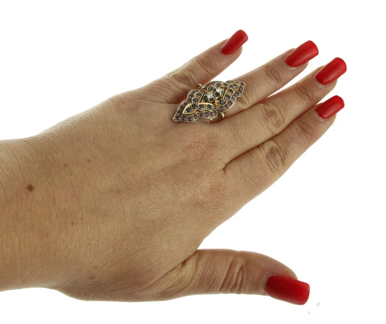 Diamonds, Rubies, Blue Sapphires, 9 Karat Rose Gold and Silver Retro Ring For Sale 2