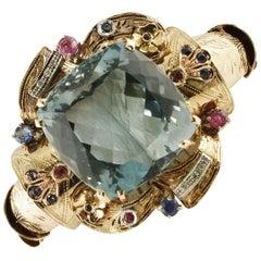 Diamonds Rubies Blue Sapphires Blue Topaz Rose and White Gold Retrò Bracelet