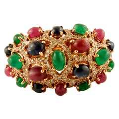 Diamonds, Rubies, Blue Sapphires, Emeralds 14 Karat Rose Gold Cluster Retrò Ring