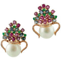 Diamonds, Rubies, Blue Sapphires, Emeralds Pearls 14K Rose Gold Clip-On Earrings