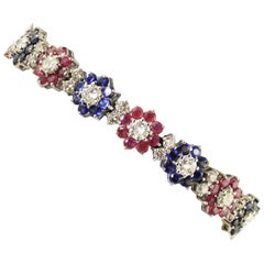 Diamonds Rubies Blue Sapphires Flowers White Gold Contemporary Link Bracelet