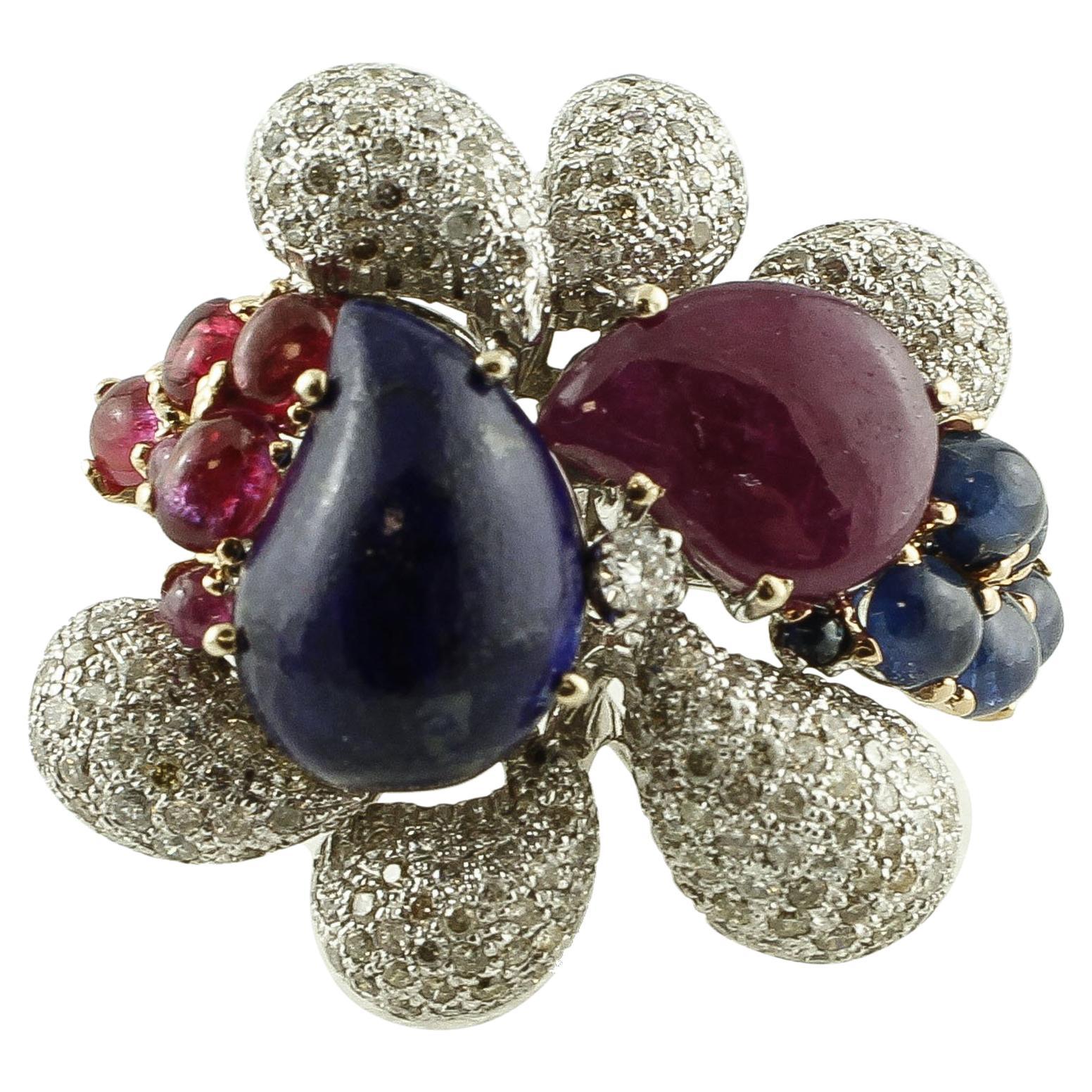 Diamonds, Rubies, Blue Sapphires, Lapis Lazuli, 14 Karat White Gold Ring