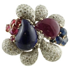 Diamonds, Rubies, Blue Sapphires, Lapis Lazuli, 14 Karat White Gold Ring