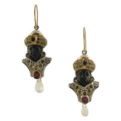 Diamonds Rubies Blue Sapphires Tsavorites Citrine Pearls Ebony Moretto Earrings