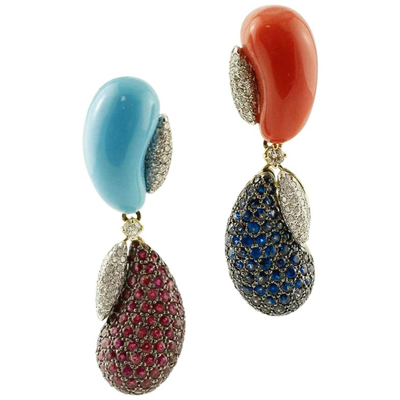 Diamonds, Rubies Blue Sapphires Turquoise, Coral, 18k White/Yellow Gold Earrings