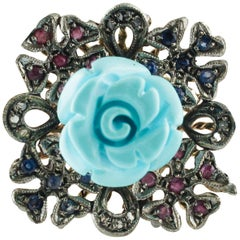 Diamonds Rubies Blue Sapphires Turquoise Paste Rose Gold and Silver Cluster Ring