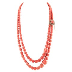 Diamonds, Rubies, Coral 9 Karat Rose Gold and Silver Clasp Multi-Strand Necklace