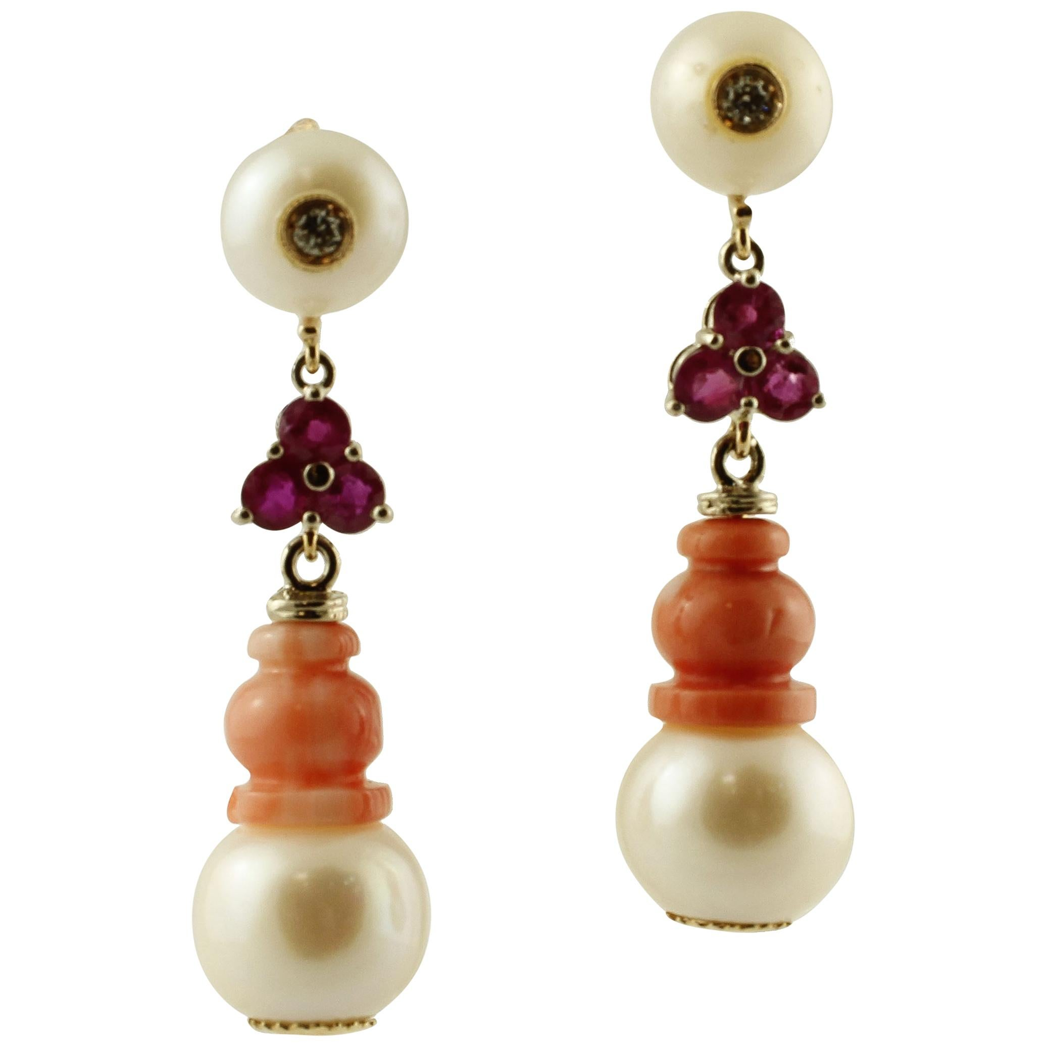 Diamonds, Rubies, Red Coral, Pearls, White Gold Dangle Earrings