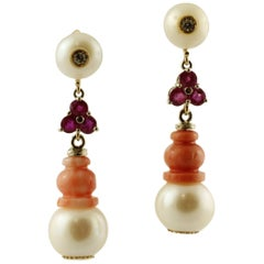 Diamonds, Rubies, Coral, Pearls, White Gold Dangle Earrings