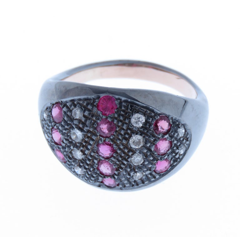 Modern Diamonds Rubies Dome Ring Handcrafted in Italy by Botta Gioielli For Sale