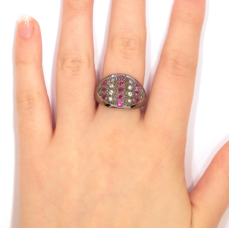 Round Cut Diamonds Rubies Dome Ring Handcrafted in Italy by Botta Gioielli For Sale
