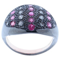 Diamonds Rubies Dome Ring Handcrafted in Italy by Botta Gioielli