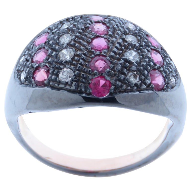 Diamonds Rubies Dome Ring Handcrafted in Italy by Botta Gioielli For Sale