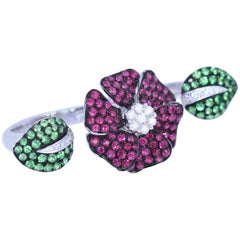 Diamonds Rubies Emerald Two-Finger Ring Whimsical Organic Floral White Gold 18K